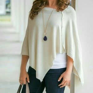 V Neck Button Poncho